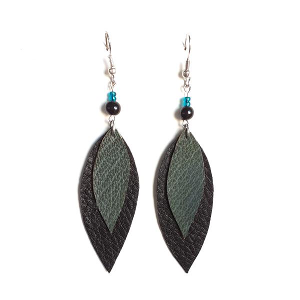 Lehtikorvakorut <br> musta/vihreä