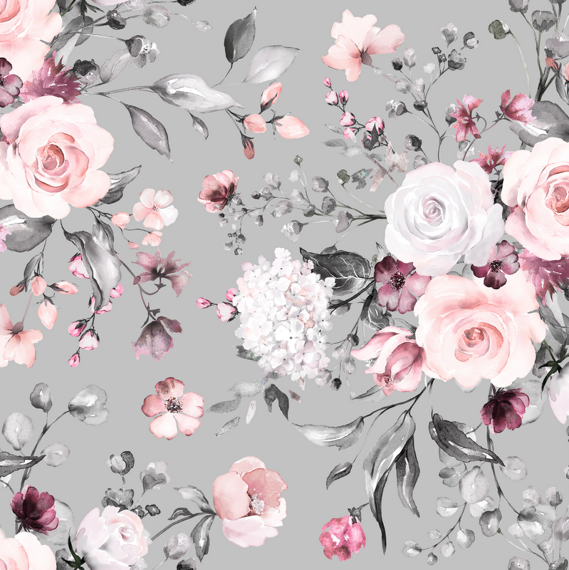 Flowers, gray/pink