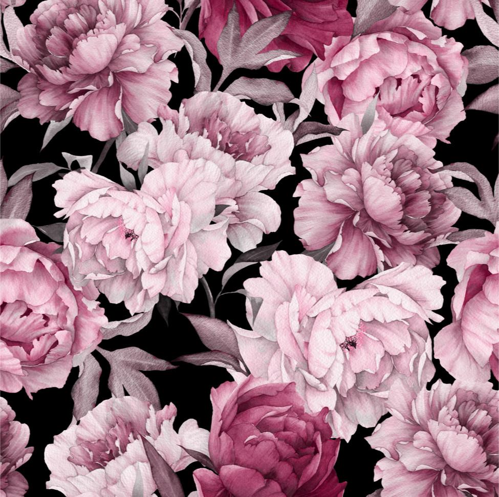 Watercolor peonies, pink/black